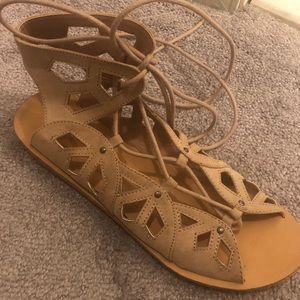 Gladiator laser cut lace up sandals